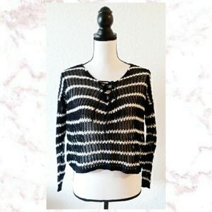 XX1 Lace Up Open Knit Top